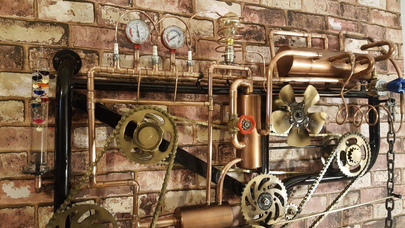 Trendy Steampunk Wall Art Inside Large Steampunk Wall Art Light Thermometer Clock Moving Part (View 12 of 15)