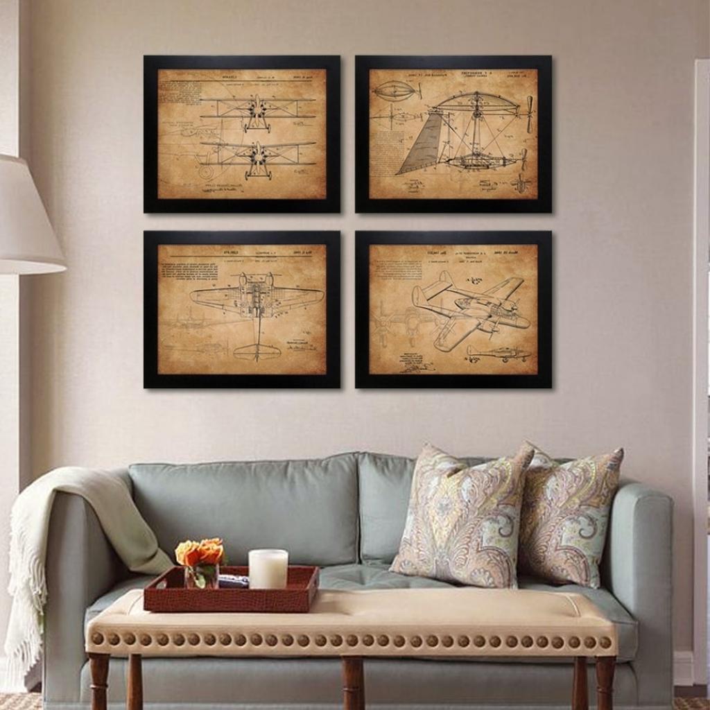 Trendy Vintage Airplane Patent Art Prints 4 In 1 Airplane Sketchup Regarding Aviation Wall Art (View 12 of 15)