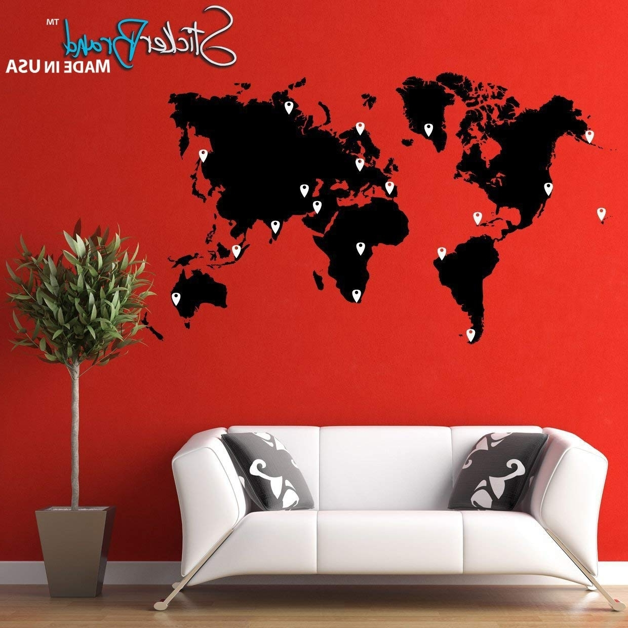 Trendy Vinyl Wall Art World Map With Regard To Amazon: Stickerbrand Vinyl Wall Art World Map Of Earth With Pin (View 8 of 15)