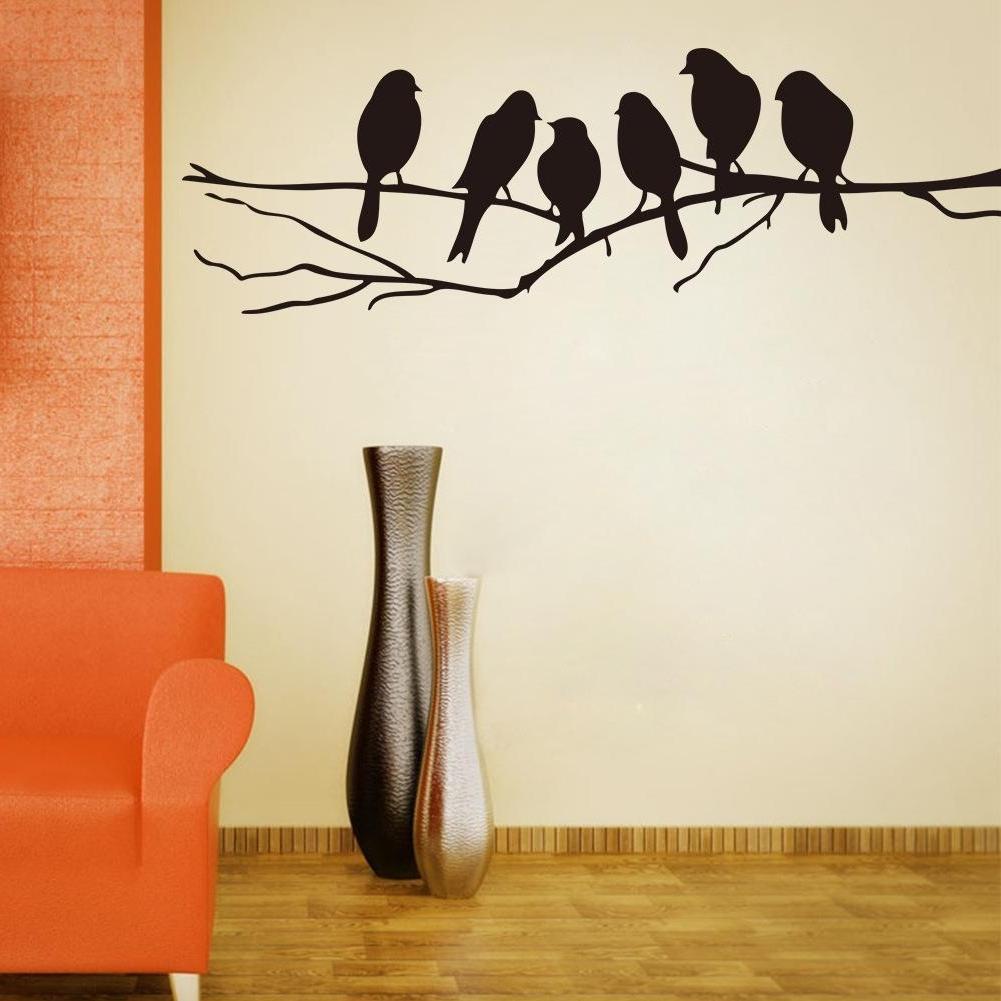 Trendy Wall Art Mural Decor Sticker Black Cute Birds On The Branch Wall In Bird Wall Art (View 5 of 15)