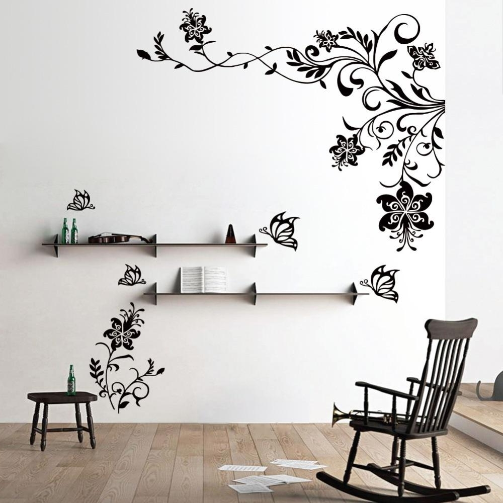 Trendy Wall Art Stickers Throughout Butterfly Vine Flower Wall Decals Vinyl Art Stickers Living Room (View 11 of 15)