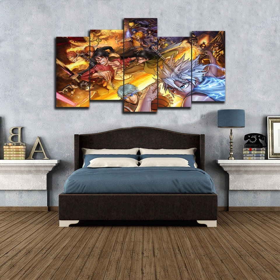Trendy Wall Canvas Art Pertaining To Anime Wall Art Canvas 5 Piece Print Home Decor Poster Manga Naruto (View 10 of 15)