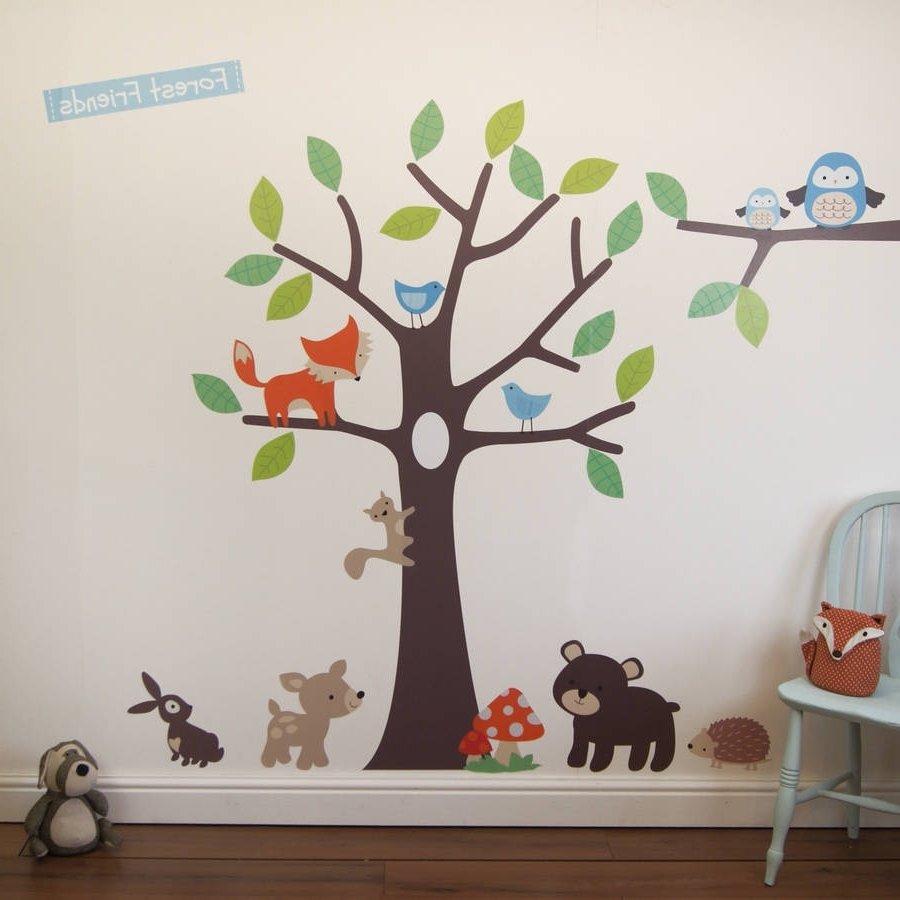 Trendy Woodland Nursery Wall Art With Regard To Woodland Tree Wall Stickersparkins Interiors (View 8 of 15)