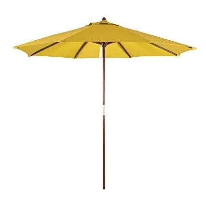 Trendy Yellow Patio Umbrellas Pertaining To Amazon : California Umbrella 9' Round Hardwood Frame Market (View 15 of 15)