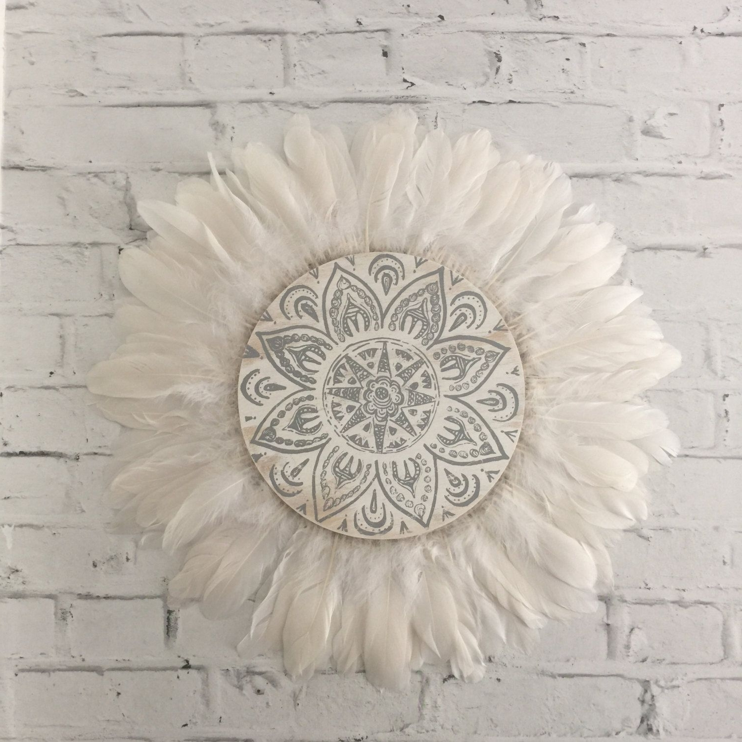 Tribal Mandala White And Grey Feathers Round Wall Art, Boho Design In Fashionable Round Wall Art (View 14 of 15)
