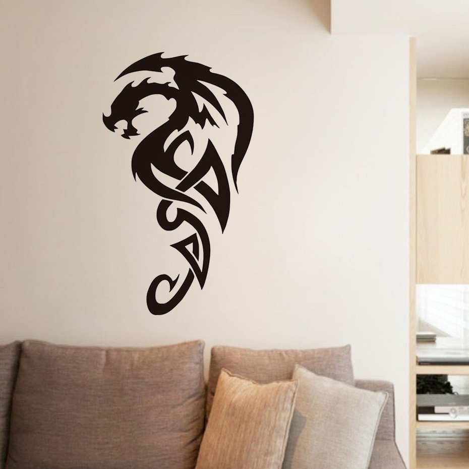 Tribal Royal Dragon Wall Stickers For Living Room Decor Vinyl With Regard To Most Up To Date Dragon Wall Art (View 14 of 15)