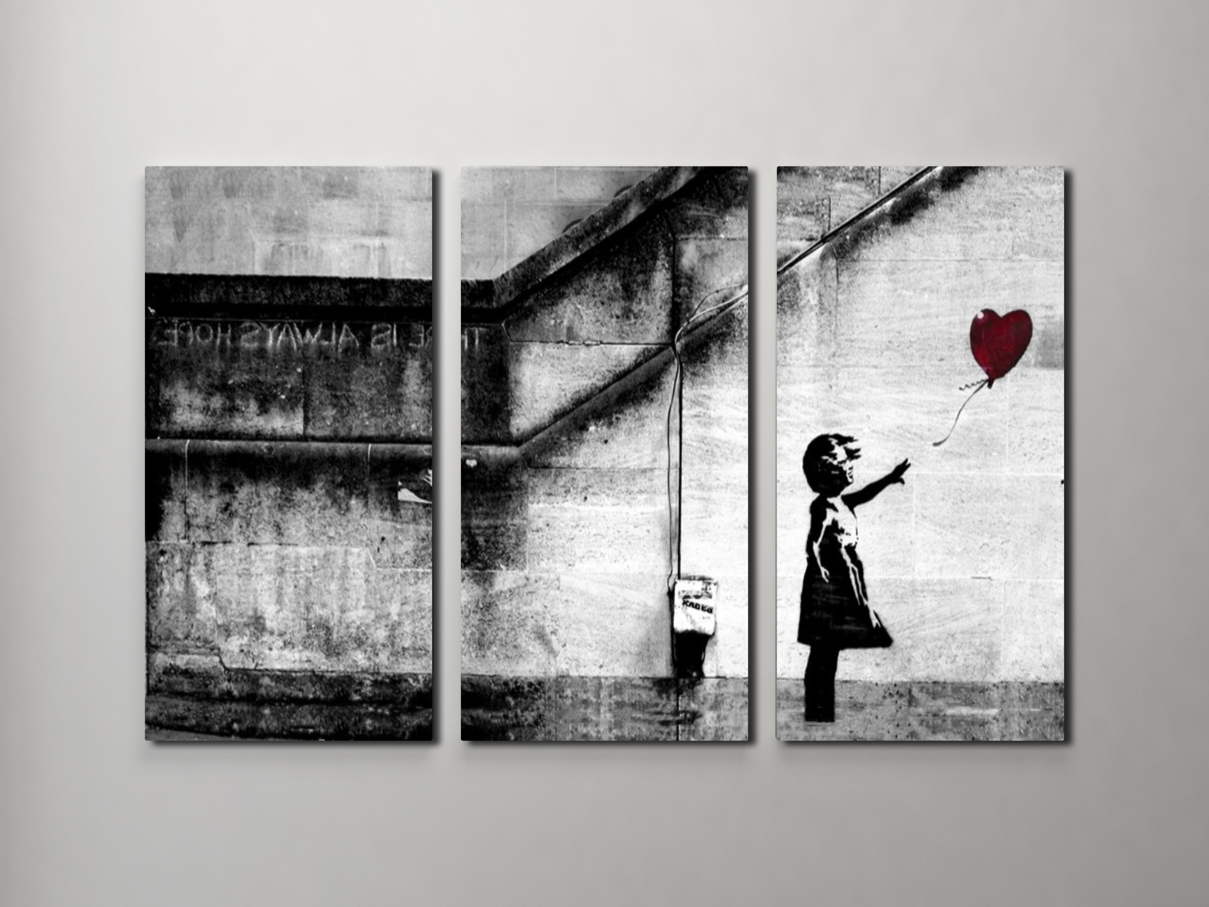 Triptych Wall Art For Well Known Banksy Girl With Balloon Triptych Canvas Wall Art (View 3 of 15)