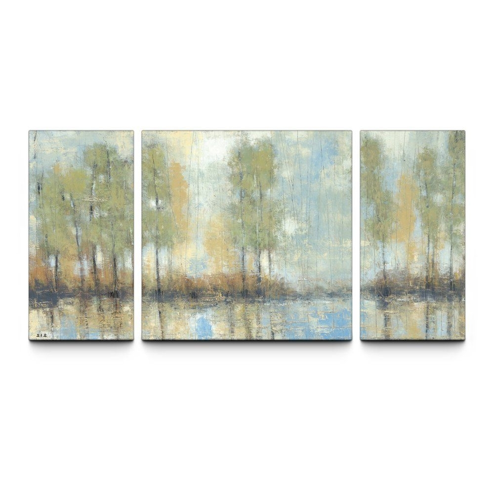 Triptych Wall Art pertaining to Preferred Through The Mist 30 X 60 Textured Canvas Art Print Triptych - Wall