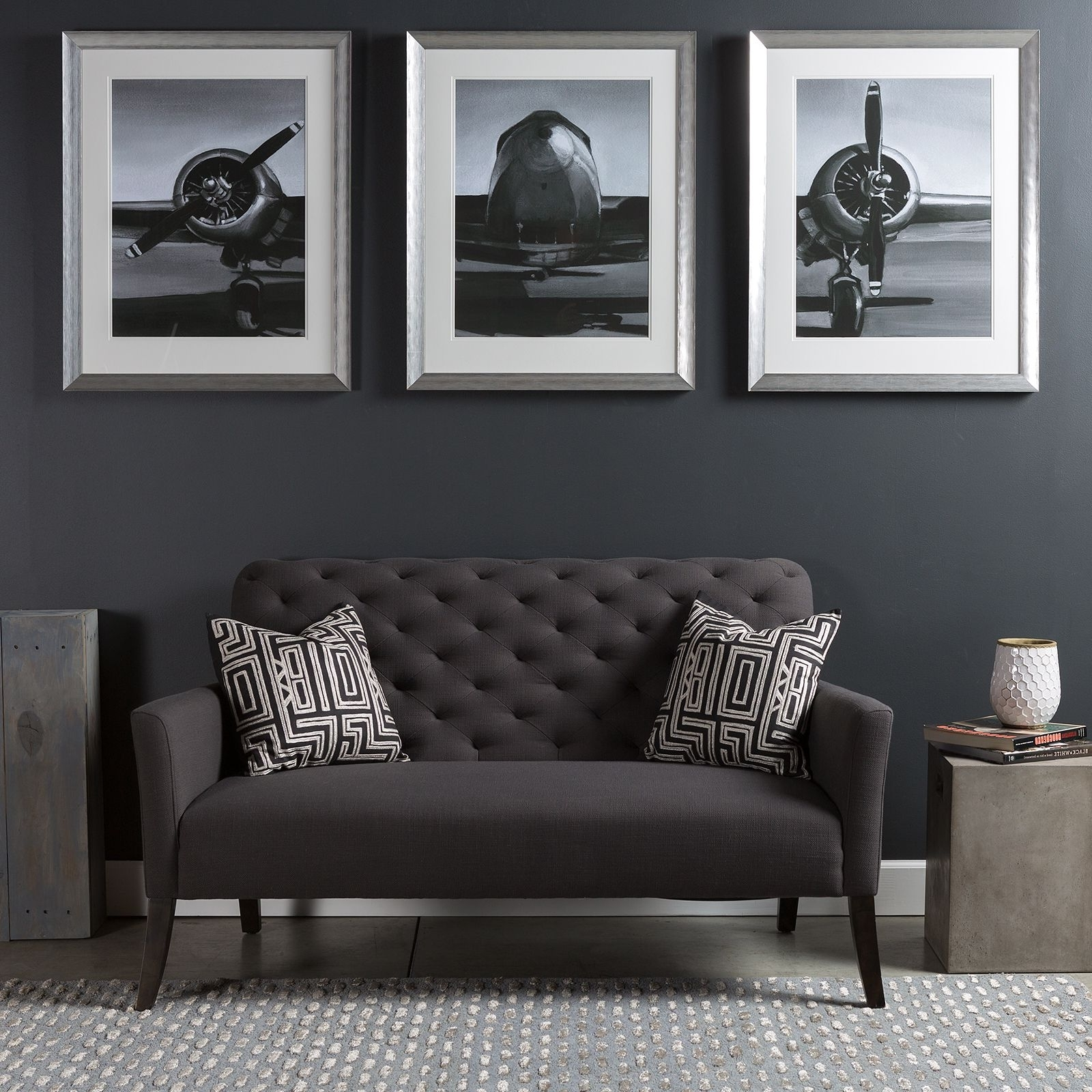 Triptych Wall Art Piece With A Modern Industrial Flare; A Series Of Pertaining To Famous Airplane Wall Art (View 14 of 15)