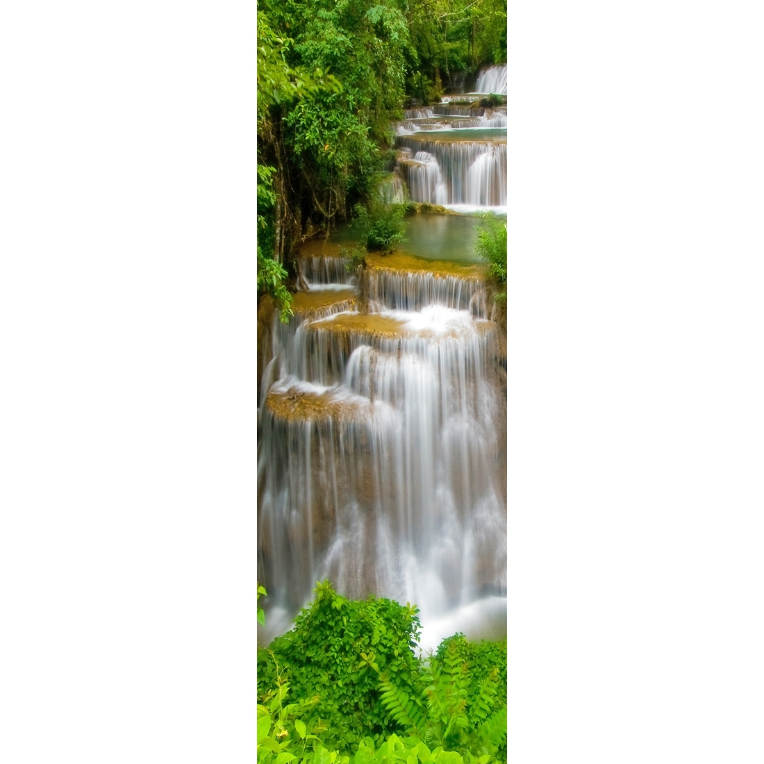 Tropical Waterfall – Vertical, Original (Long) – Canvas Print – Wall Intended For Widely Used Long Canvas Wall Art (View 15 of 15)