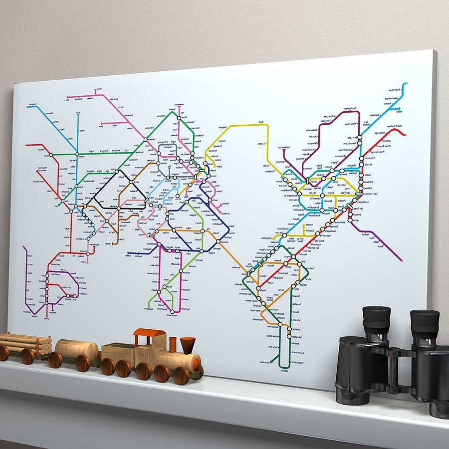 Tube Map Wall Art Within 2018 Subway Tube Metro World Map Art Printartpause (View 2 of 15)