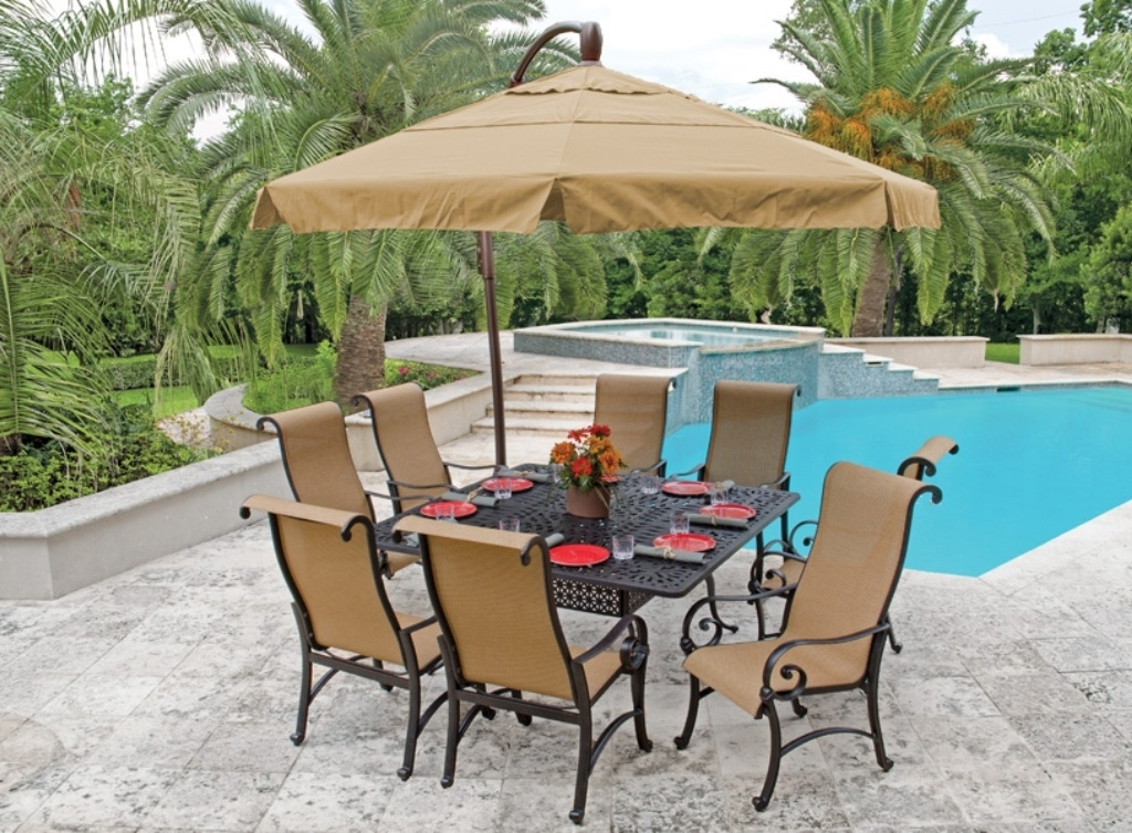 Featured Photo of Patio Table Sets With Umbrellas