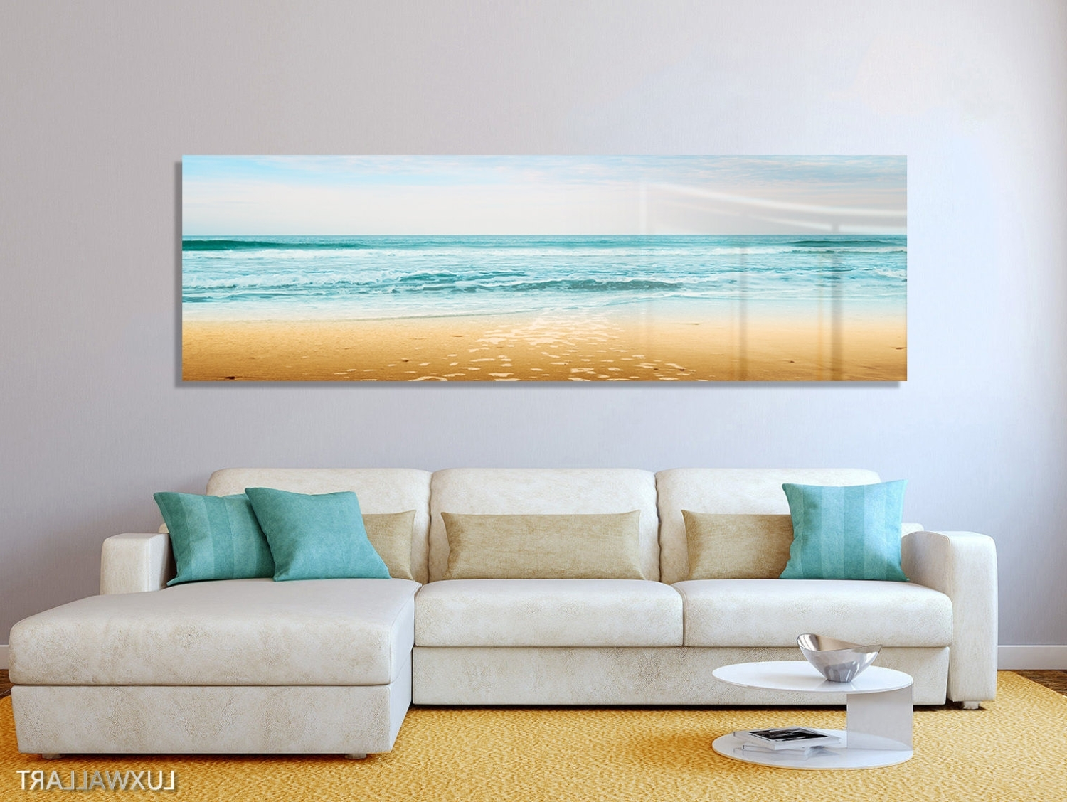 Turquoise Beach Ocean Panoramic Modern Contemporary Hd Metal With Best And Newest Panoramic Wall Art (View 12 of 15)