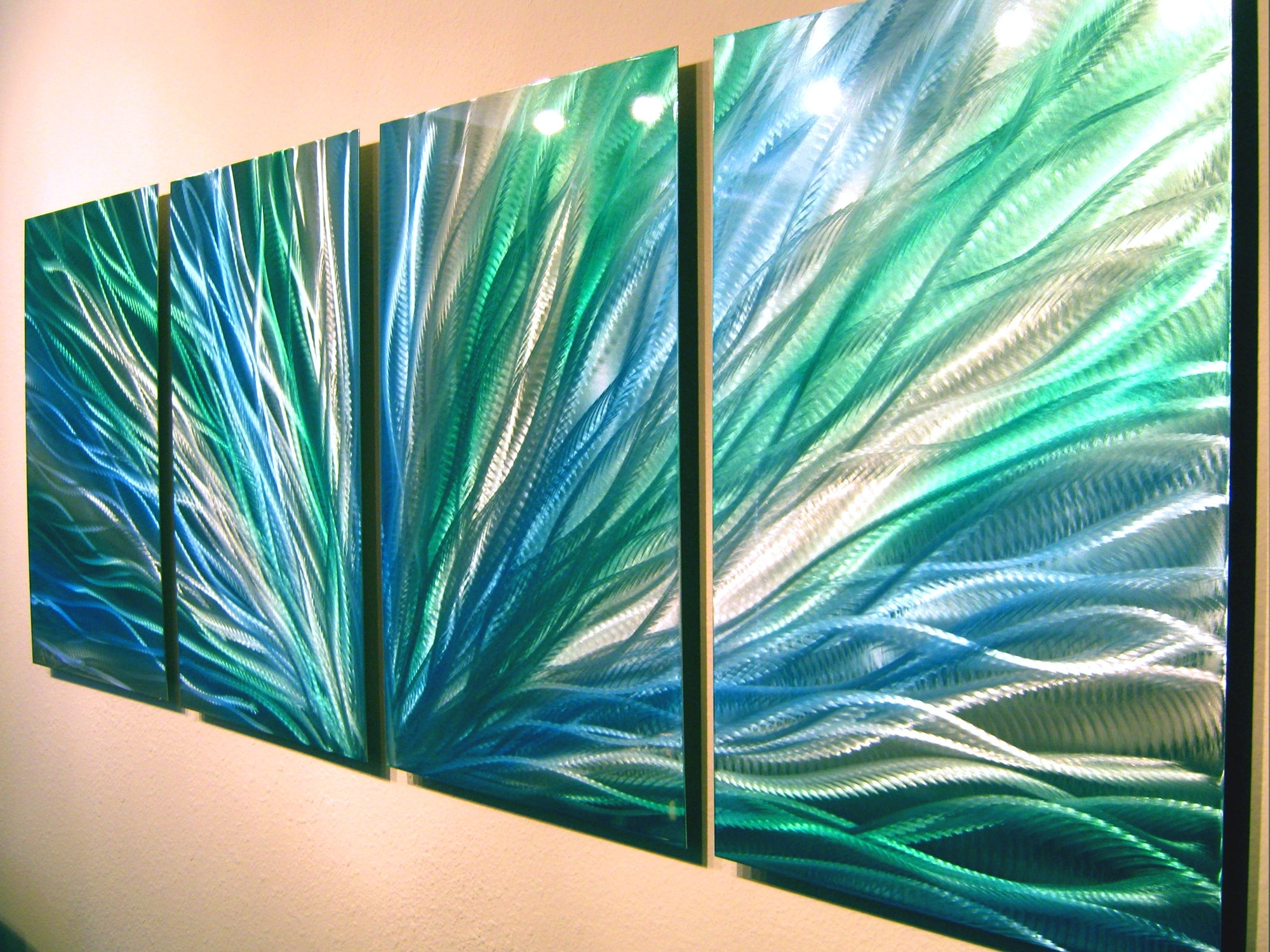 Turquoise Wall Art For Famous Radiance Blue Green Abstract Metal Wall Art Contemporary Modern (View 7 of 15)