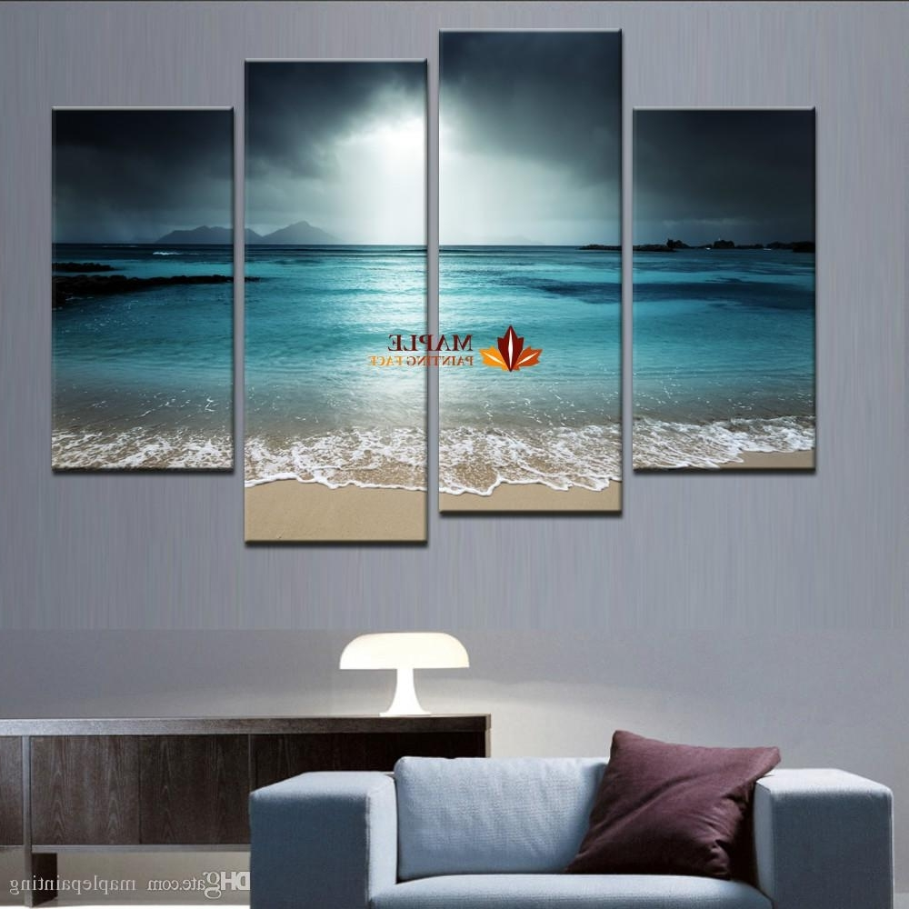 Turquoise Wall Art Intended For Most Recently Released 4 Panel Sea Scenery With Beach Modern Abstract Wall Art Picture Home (View 12 of 15)