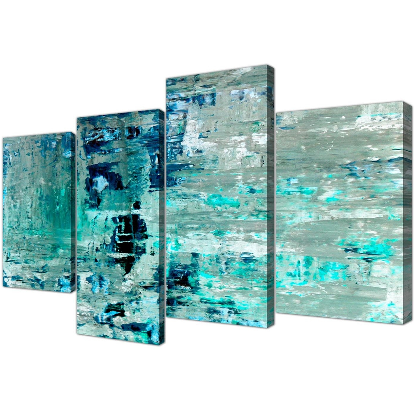 Turquoise Wall Art Pertaining To Popular Large Turquoise Teal Abstract Painting Wall Art Print Canvas – Multi (View 2 of 15)