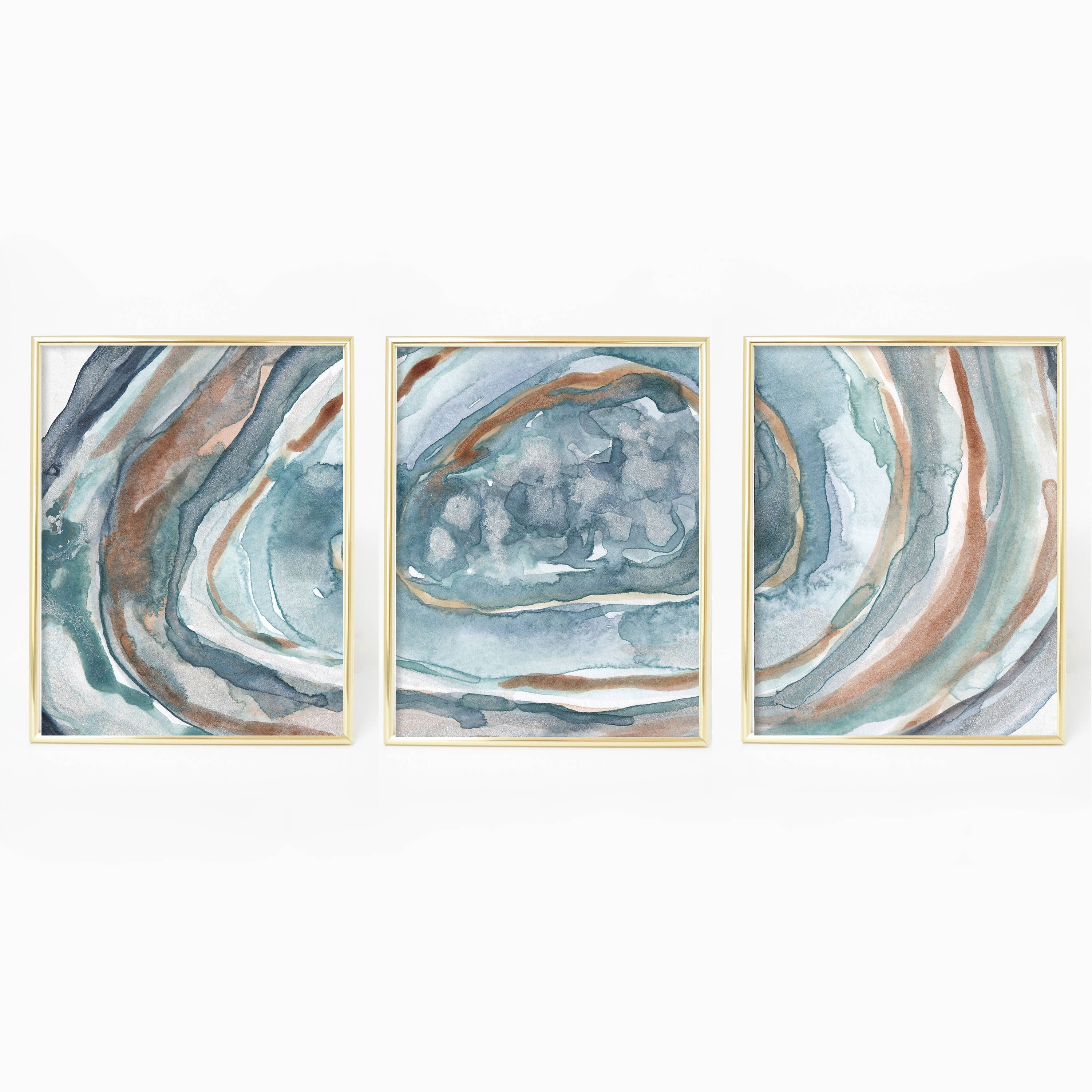 Turquoise Wall Art With Regard To Trendy Turquoise Agate Print, Crystal Wall Art, Geode Painting, Watercolor (View 8 of 15)