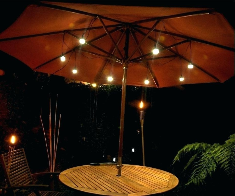 Umbrella With Solar Light Patio Umbrella With Solar Lights Interior with regard to Well-known Patio Umbrellas With Led Lights