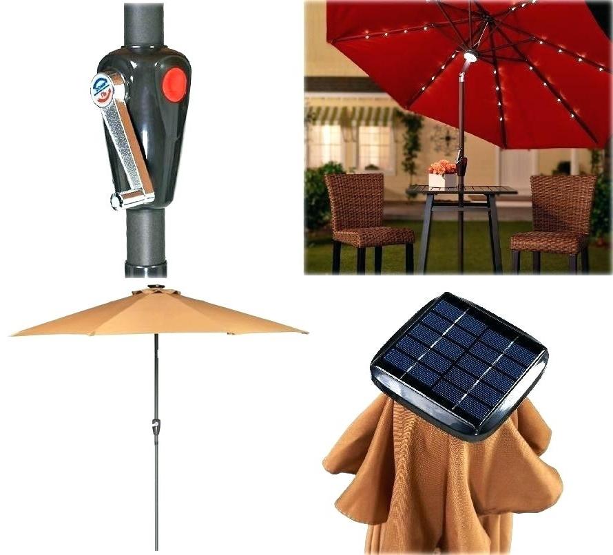 Umbrella With Solar Light Patio Umbrella With Solar Lights Interior Within Preferred Patio Umbrellas With Solar Led Lights (View 14 of 15)