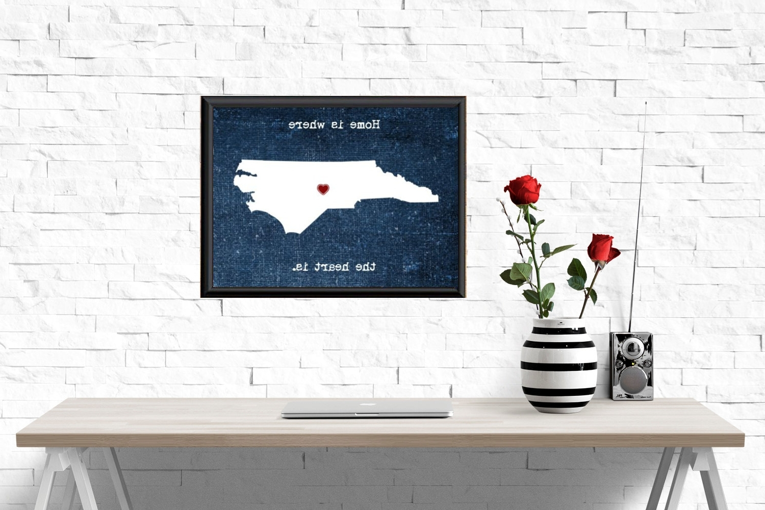 Unframed North Carolina Print, Home Is Where The Heart Is, North Inside Favorite North Carolina Wall Art (View 14 of 15)
