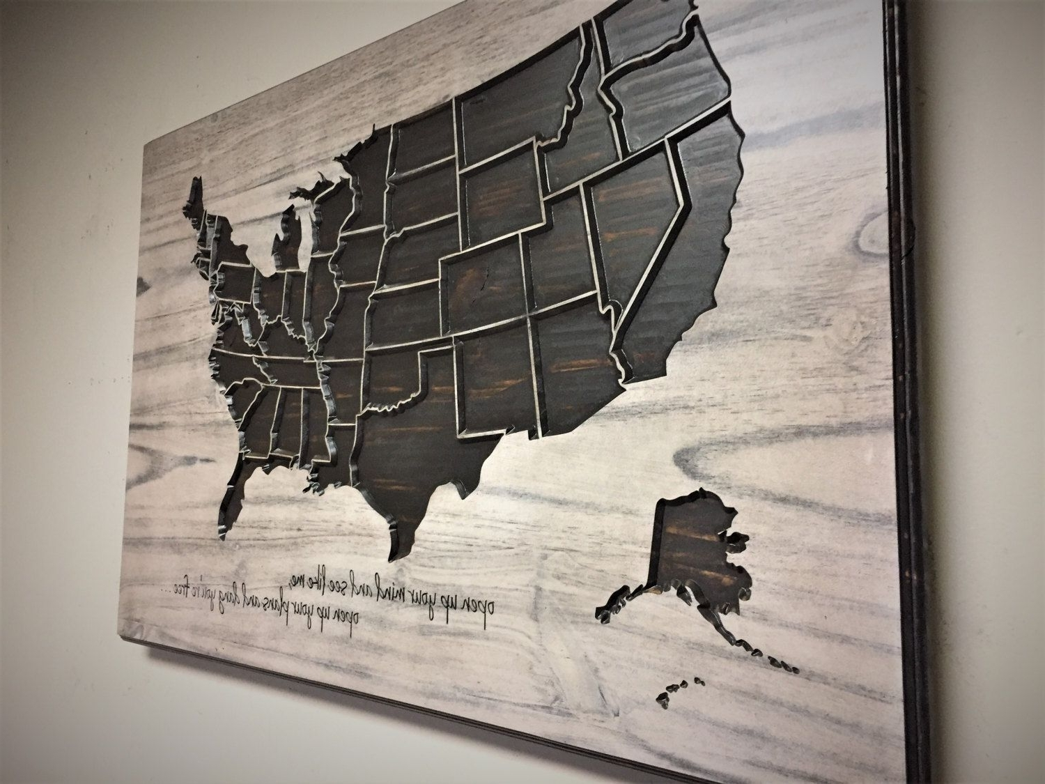 United States Map Wall Art for Most Recent Us Map Art, United States Home Wall Decorhowdyowl On Etsy