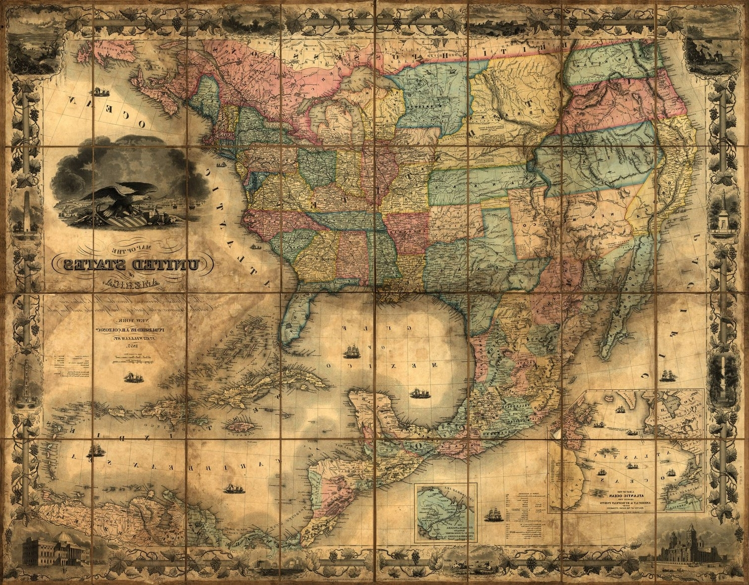 United States Map Wall Art throughout Most Current United States Map, Vintage Map, Canvas Large Map, Wall Art Map, Map