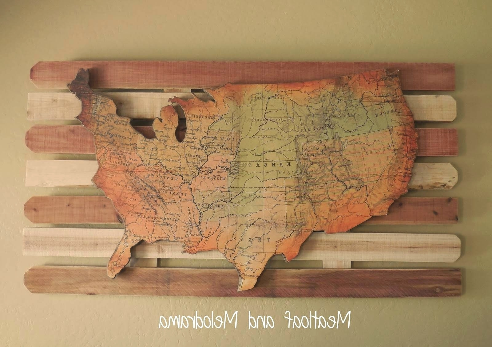 United States Map Wall Art with Most Recent United States Map Wall Art - Town-Seek