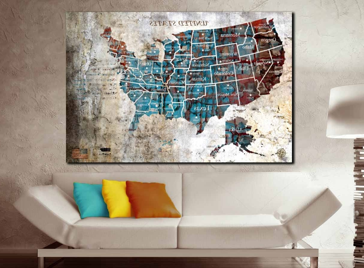 Us Map Push Pin Single Panel Oil Painting Art,us Map Wall Art,us Map intended for Most Up-to-Date Us Map Wall Art