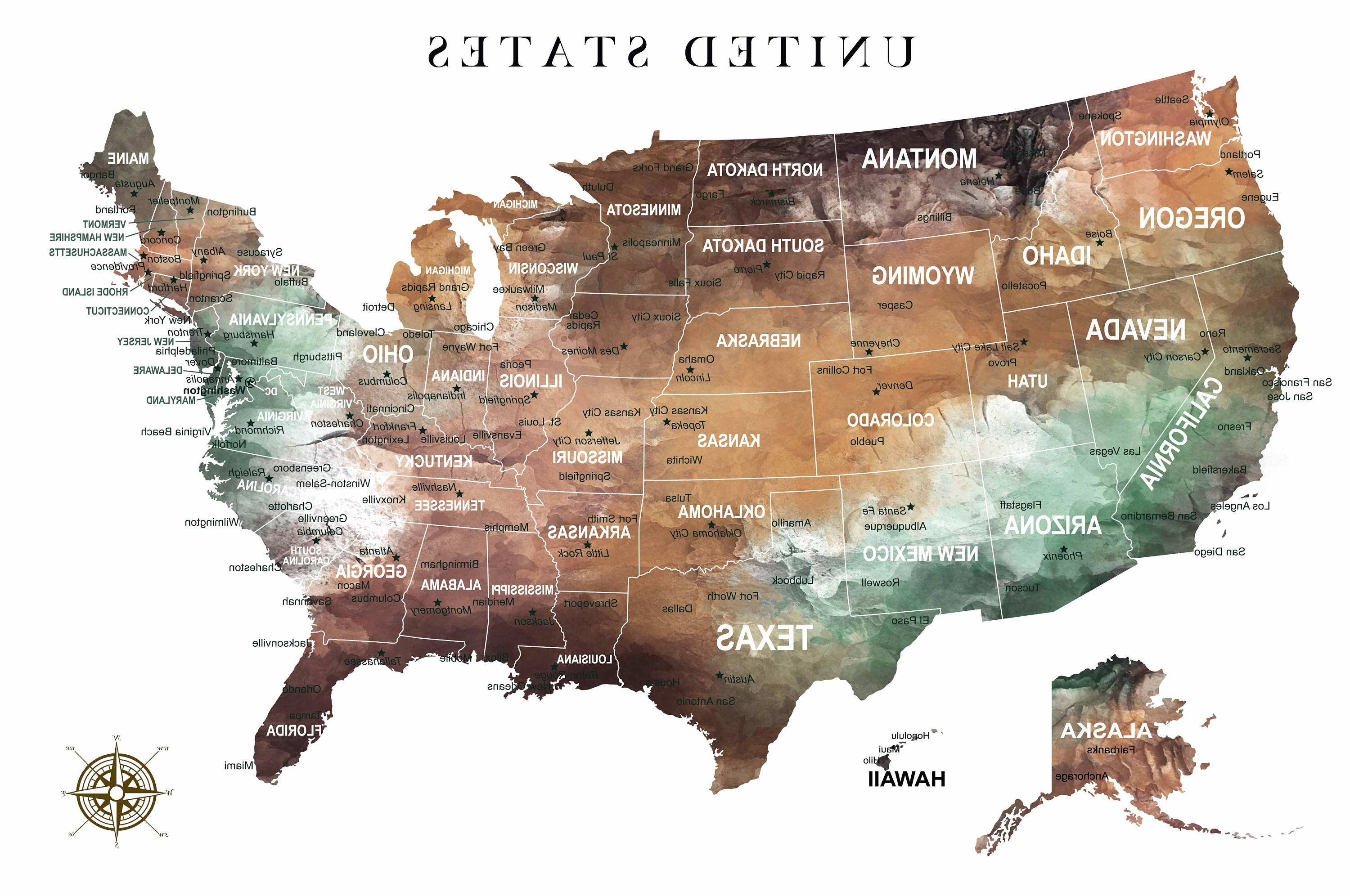 Us Map Wall Art With Regard To Most Current Us Map Wall Art,us Pushpin Map,us Adventure Map,united States Canvas (View 14 of 15)