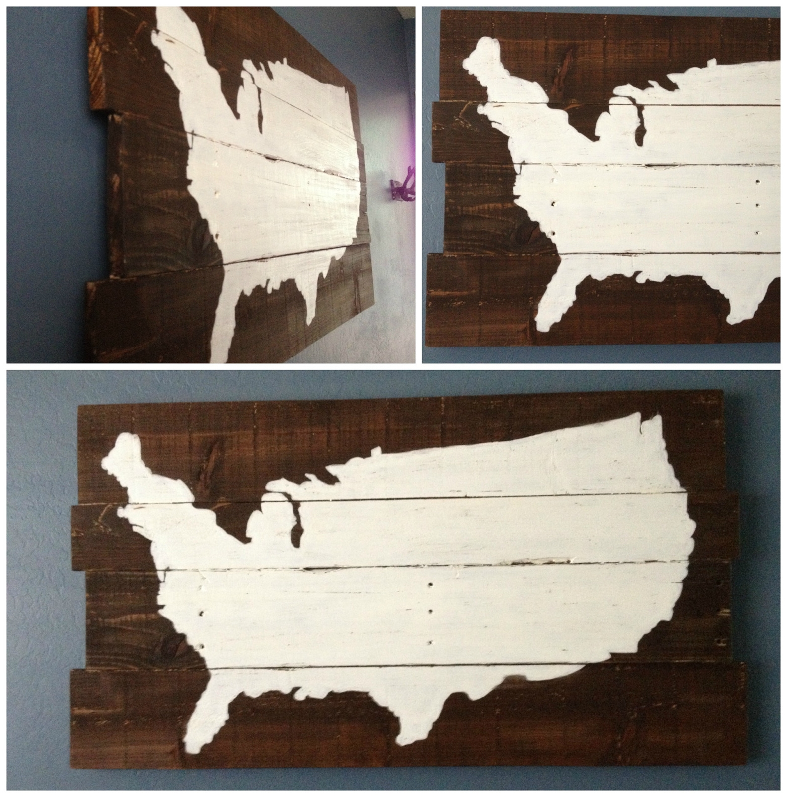 Usa Map Wall Art With Most Popular Pottery Barn Usa Map Wall Art Best Of Diy Map Sign Rustic Painted (View 8 of 15)