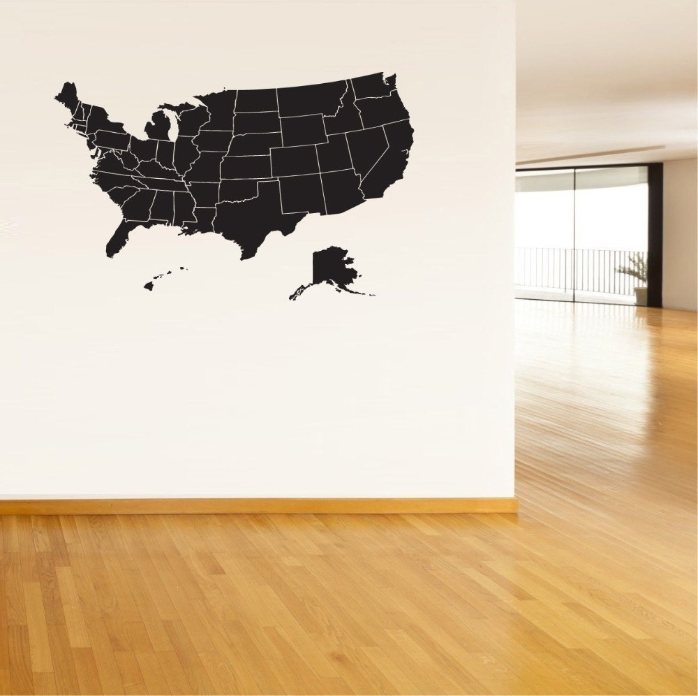 Usa Map Wall Sticker United States Of America Map Mural Pvc Wall Art Regarding Current Usa Map Wall Art (View 13 of 15)
