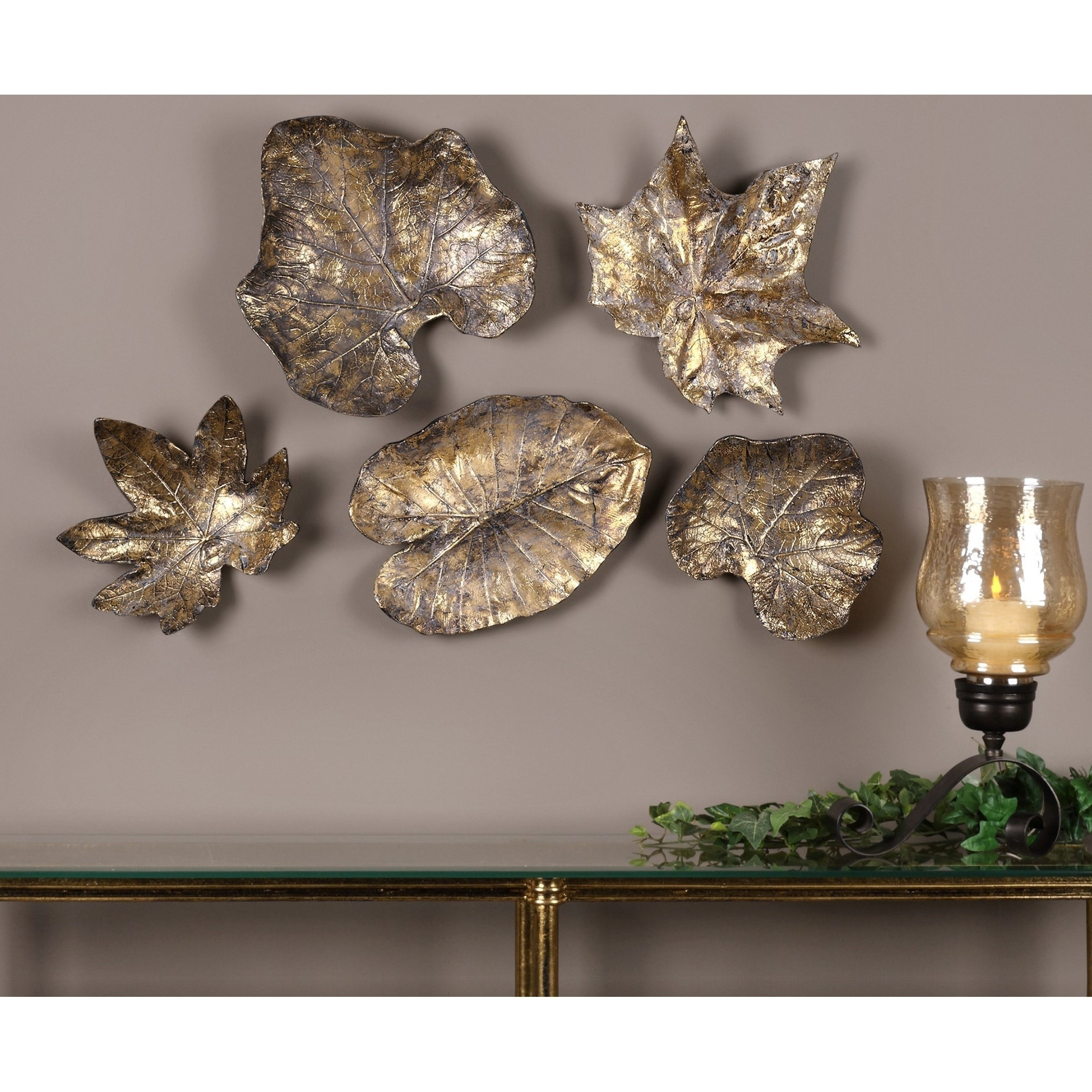 Uttermost Alternative Wall Decor Bronze Leaves Wall Art (Set Of 5 In Newest Bronze Wall Art (View 13 of 15)