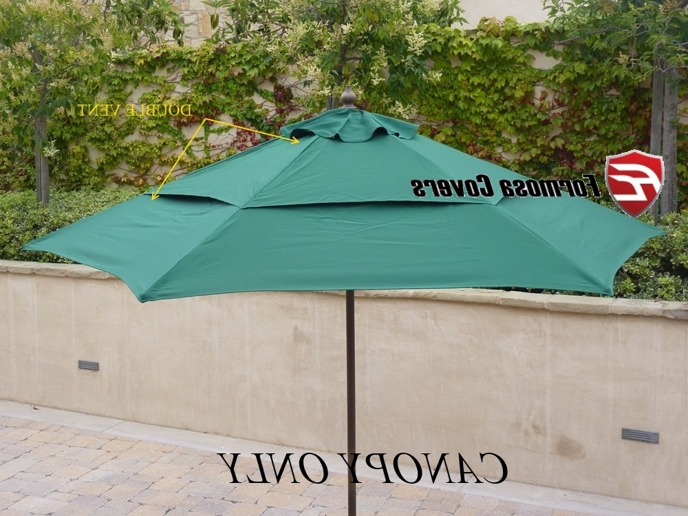Vented Patio Umbrellas Regarding Preferred Best Patio Umbrella Replacement Canopy Double Vented Replacement (View 13 of 15)