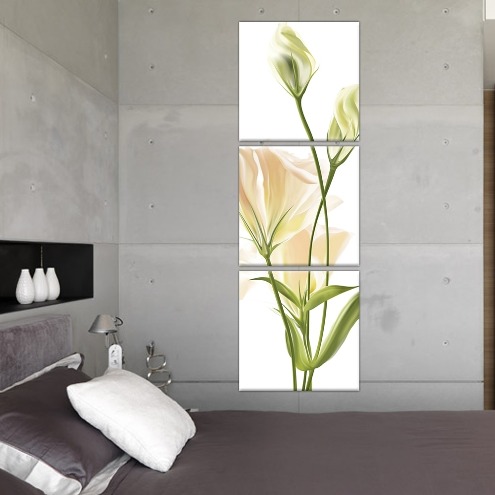 Vertical Wall Art throughout Widely used 3 Panel Wall Art Abstract Modern Bedroom Beautiful Vertical Flower