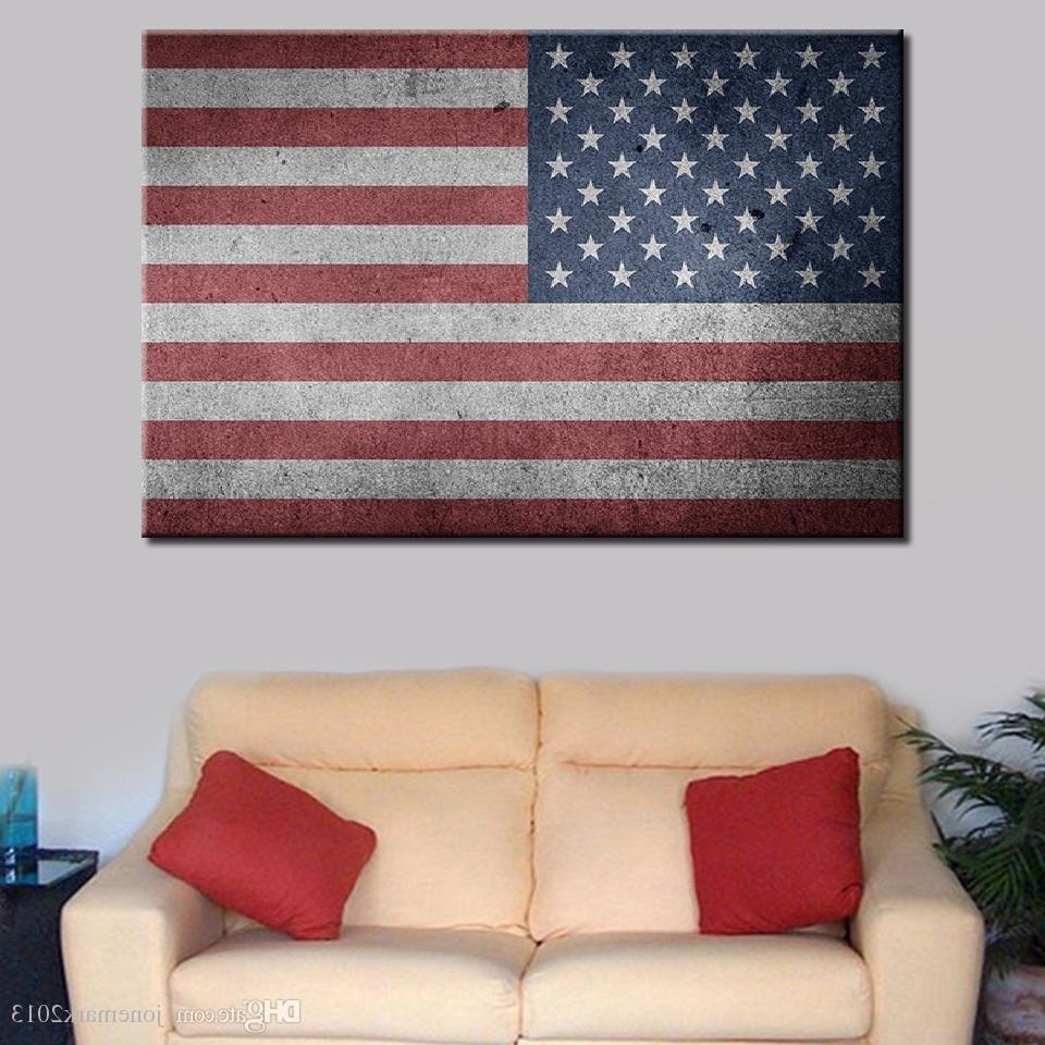 Vintage American Flag Wall Art inside Famous 2018 Canvas Paintings Living Room Home Decor Wall Art /pcs Usa Flag