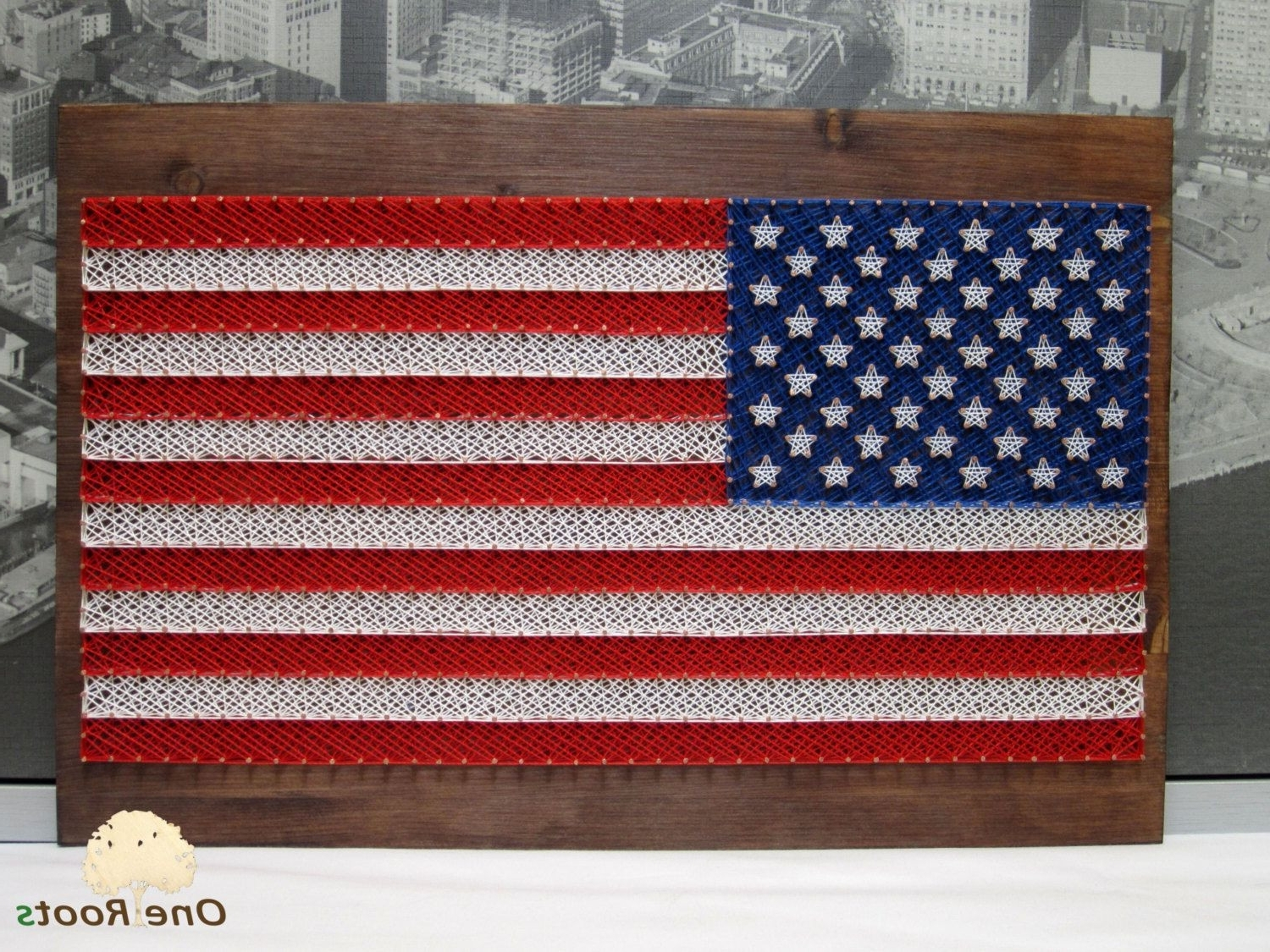 Vintage American Flag Wall Art Inside Recent String Art American Flag Usa Wall Arteroots On Etsy S Design (View 10 of 15)
