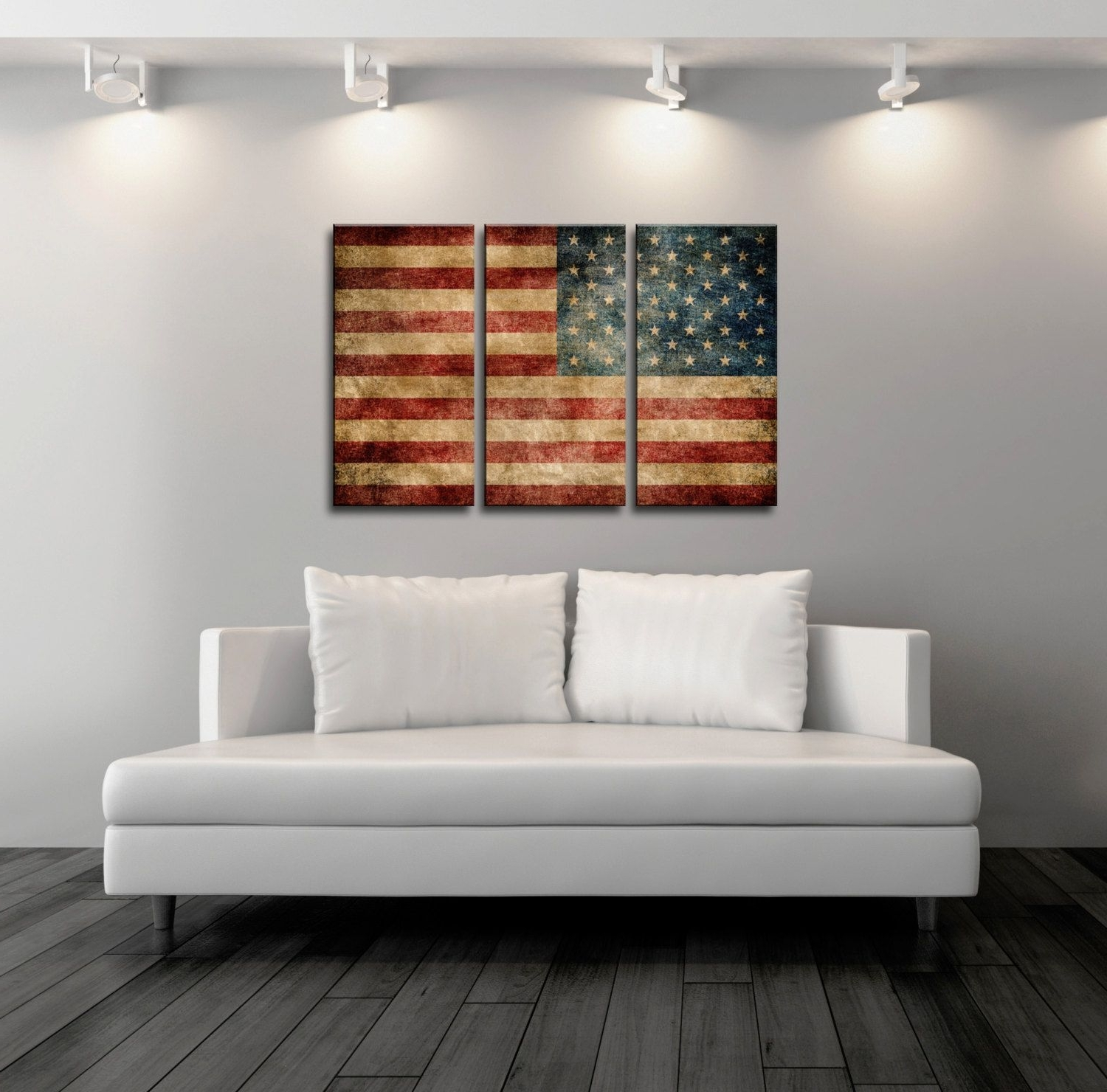 Vintage American Flag Wall Art With Regard To Most Recently Released Triptych Vintage American Flag,canvas Print,flag Poster,vintage (View 9 of 15)
