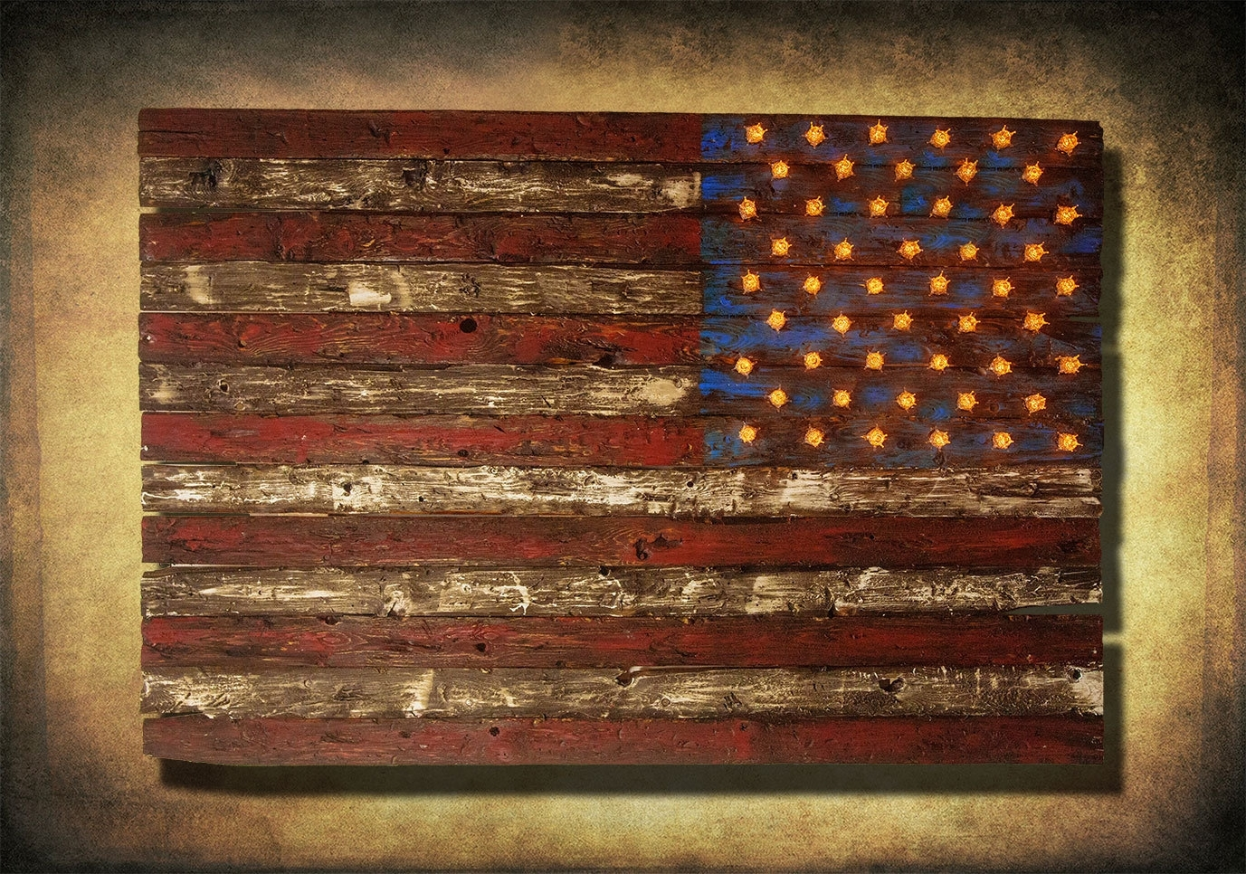 Vintage American Flag Wall Art within Most Up-to-Date American Flag, Weathered Wood, Edison Bulb, 3D, Wooden, Vintage, Art