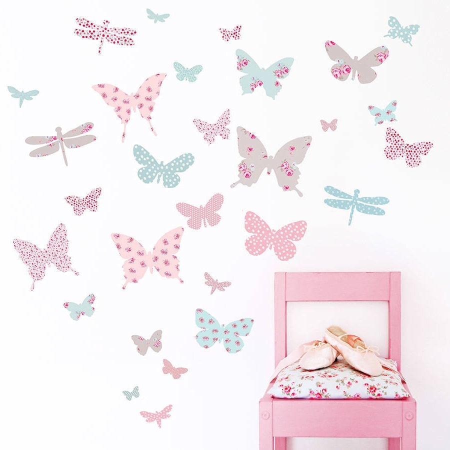 Vintage Floral Butterfly Fabric Wall Stickerskoko Kids Intended For Most Up To Date Butterfly Wall Art (Gallery 2 of 15)