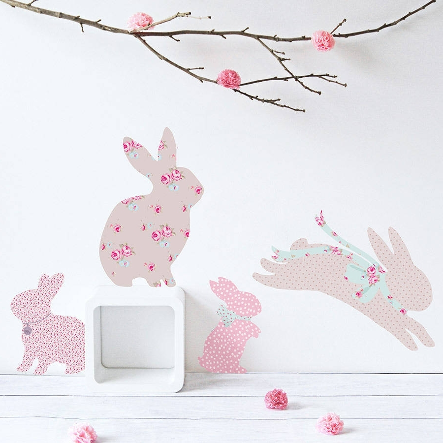 Vintage Floral Rabbit Wall Stickerskoko Kids Intended For Most Current Bunny Wall Art (Gallery 1 of 15)
