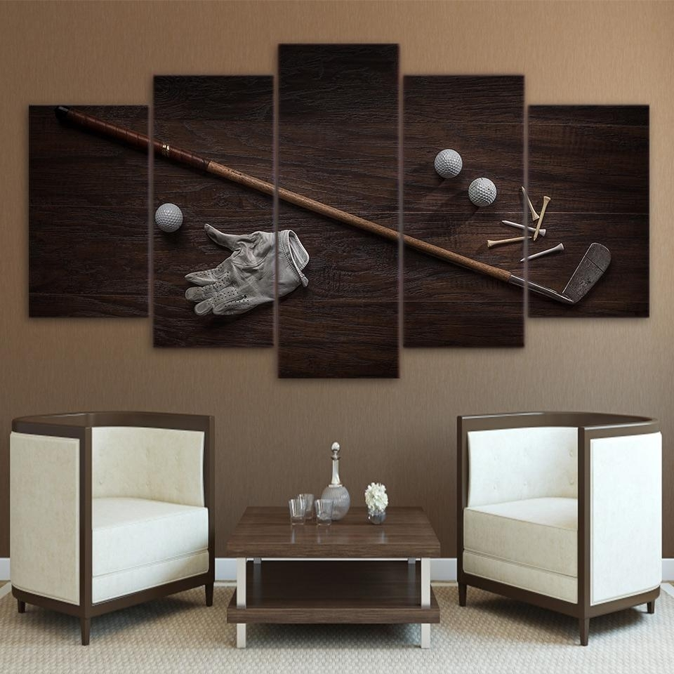 Vintage Golf Tools Ball And Club 5 Pcs Canvas Wall Art Print Picture Regarding Most Current Golf Canvas Wall Art (View 14 of 15)