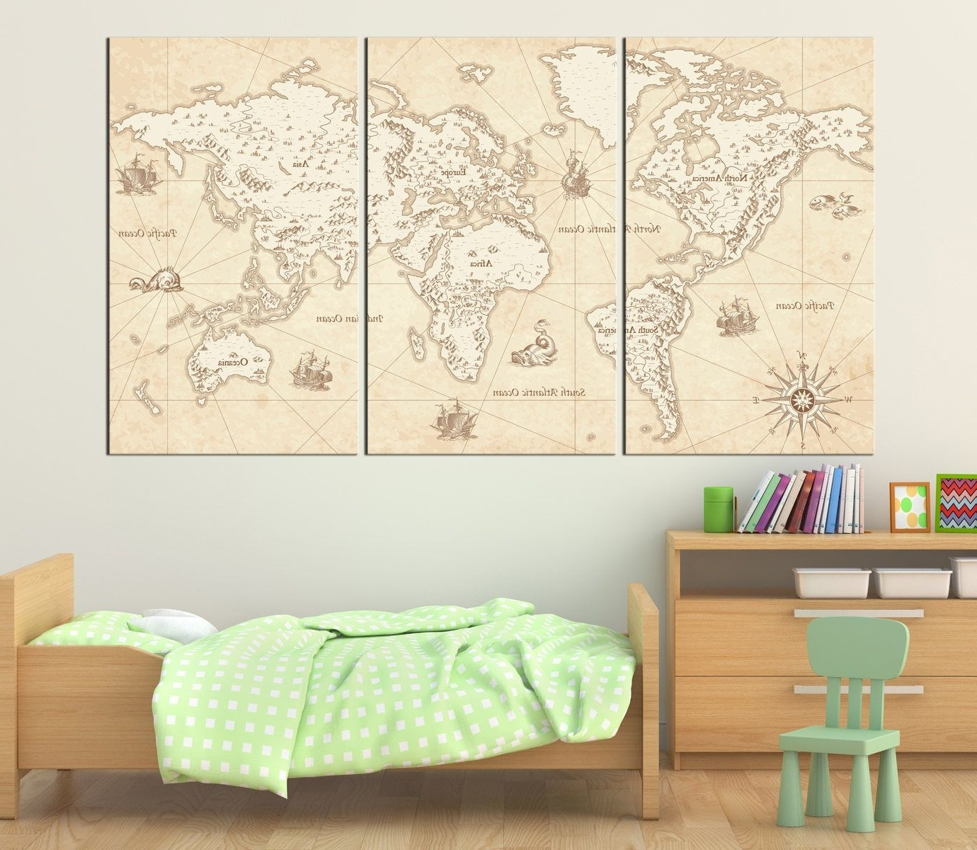 Vintage Illustrated World Map With Decorative Elements Canvas Print for Most Popular Map Wall Art Prints