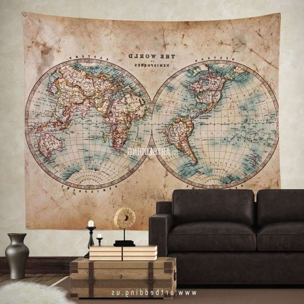 Vintage Map Wall Art For Latest Old 1800 World Map Wall Tapestry, Vintage Interior World Map Wall (Gallery 3 of 15)