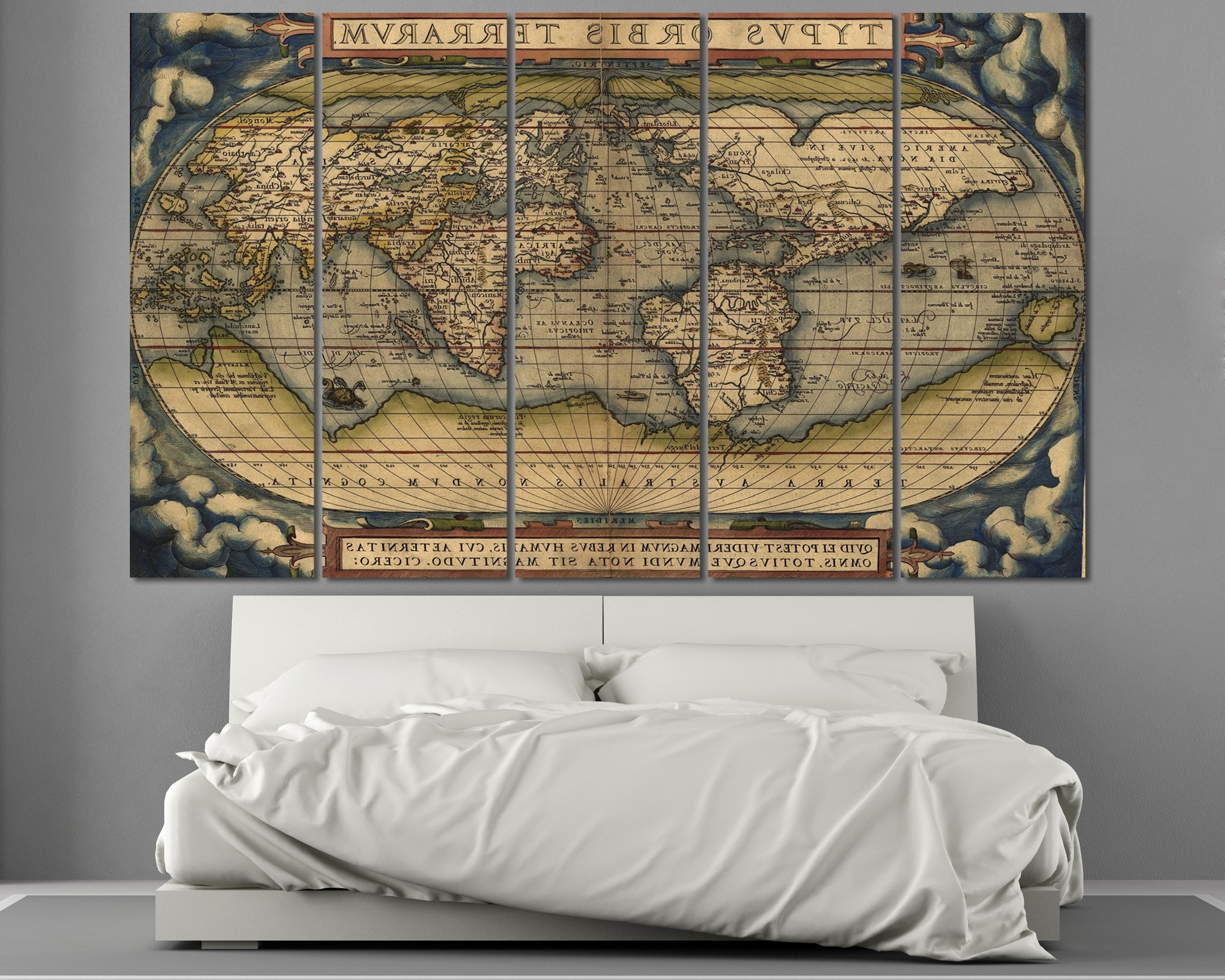 Vintage Map Wall Art Inside Newest Large Vintage World Map 3 Panel Wall Art At Texelprintart (View 8 of 15)
