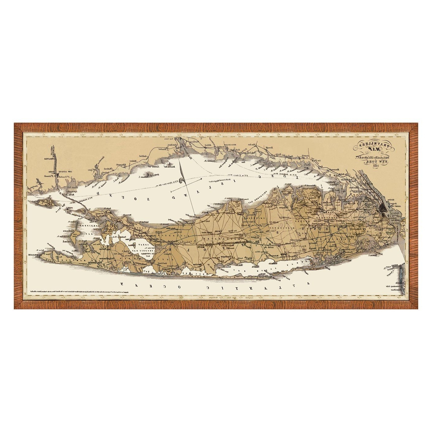 Vintage Print 1429 63 Map Of Long Island & Connecticut Framed Art At Regarding Current Long Island Wall Art (View 14 of 15)