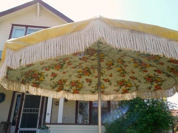Vintage Umbrella For Patio Table Heavy Vinyl Fringe Huge Yellow Inside Trendy Vinyl Patio Umbrellas (View 11 of 15)