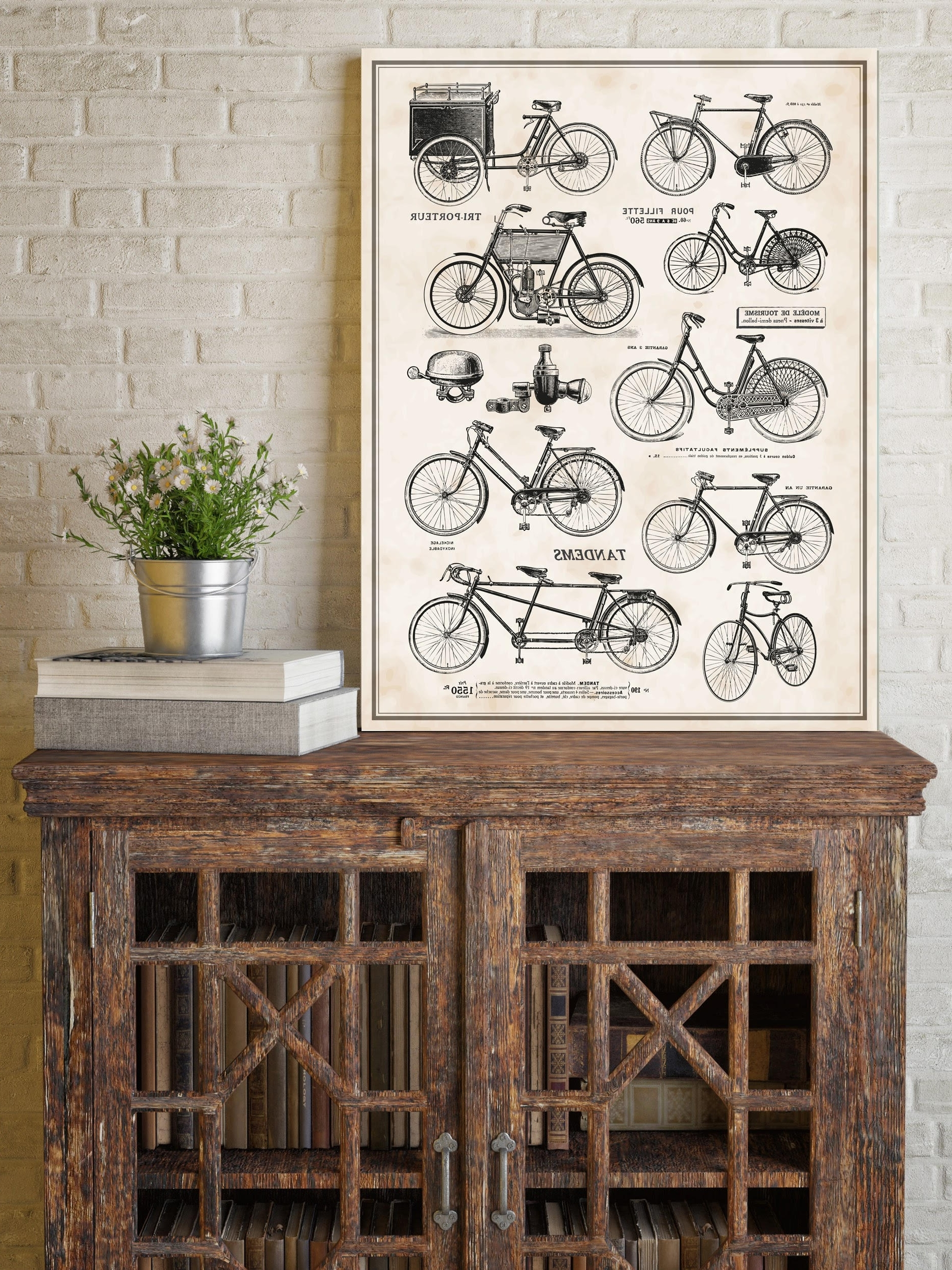 Vintage Wall Art with Fashionable Old Bike Canvas, Vintage Wall Canvas, Vintage Wall Art, Bicycles On