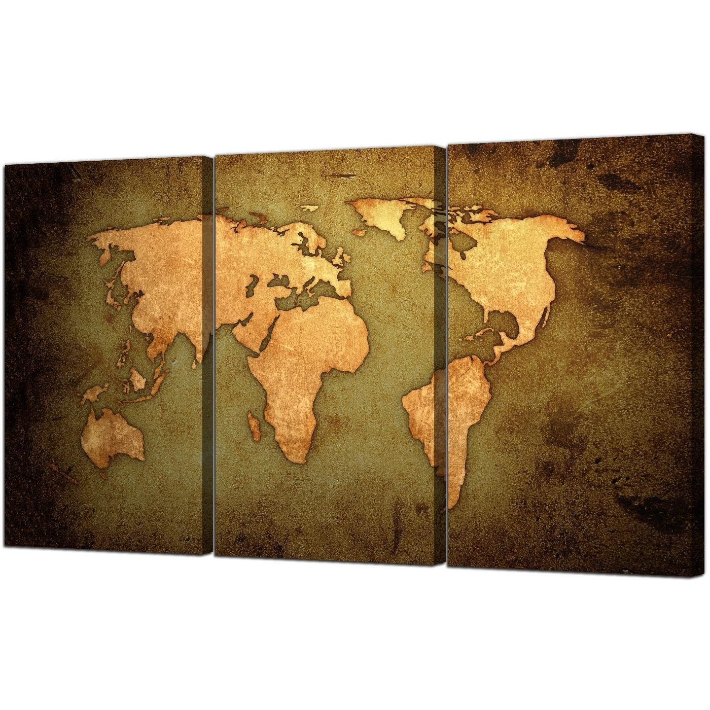 Vintage World Map Canvas Art Set Of Three For Your Study pertaining to Trendy World Map Wall Art Canvas