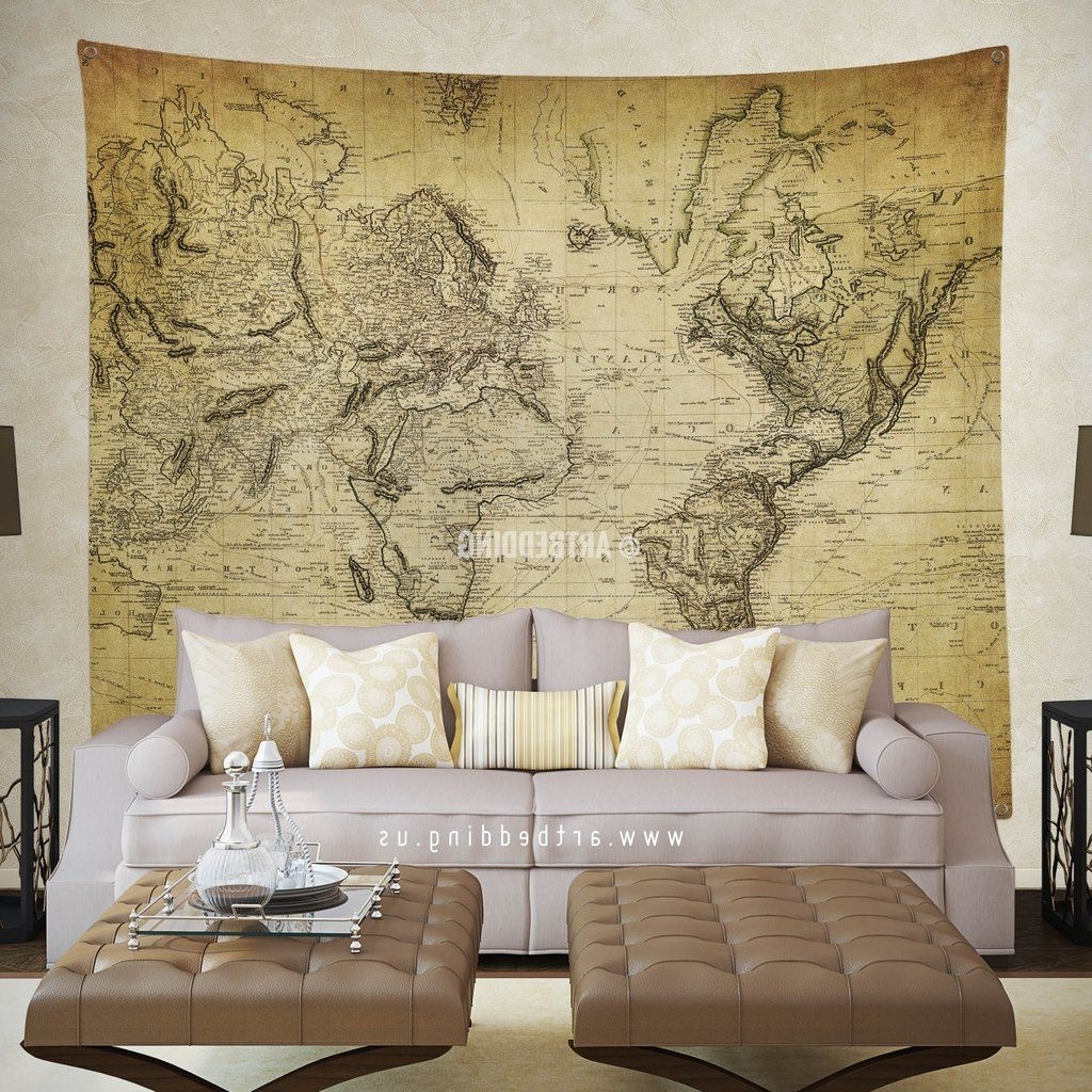 Vintage World Map Wall Tapestry, Vintage Interior World Map Wall Pertaining To Favorite Vintage Map Wall Art (View 7 of 15)