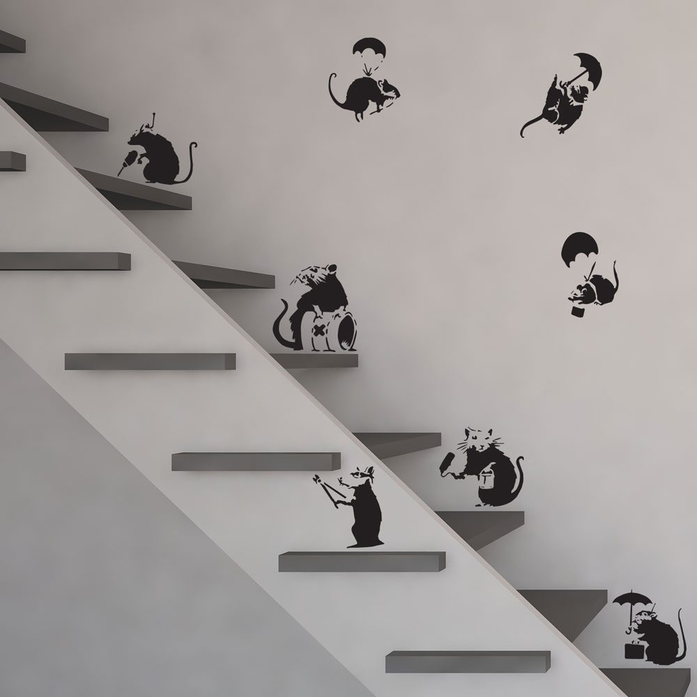 Vinyl Wall Art Inside Famous Banksy Rats Vinyl Wall Art Decal (View 10 of 15)
